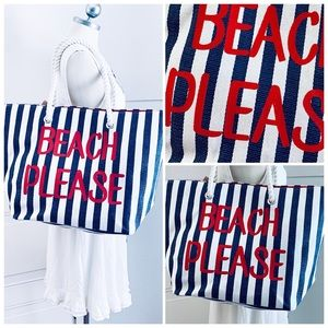 "Beautiful large striped tote ""Beach Please"""